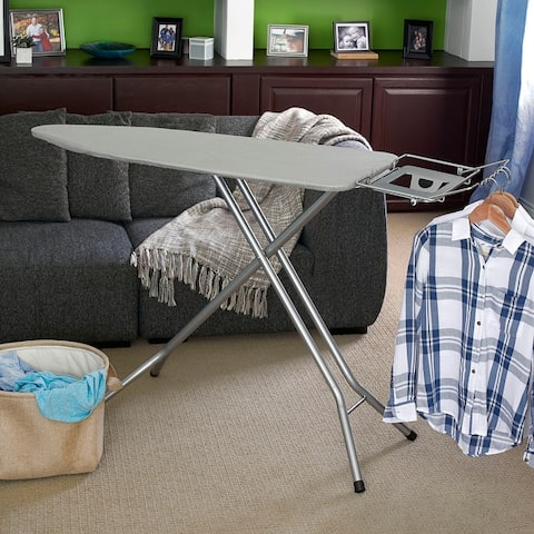 Household Essentials Wide Steel Top Ironing Board, Silver Finish and Cover