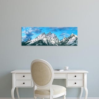 Easy Art Prints Panoramic Image 'Mountains, Cathedral Group, Grand Teton National Park, Wyoming' Canvas Art