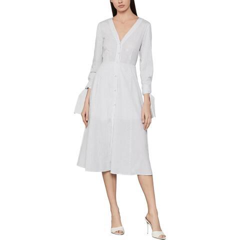 BCBG Max Azria Women's Cotton Striped Tie Sleeve A-Line Midi Dress - Off White Combo