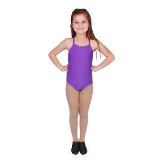 Girls Purple Rhinestone Trim Camisole Dancewear Leotard