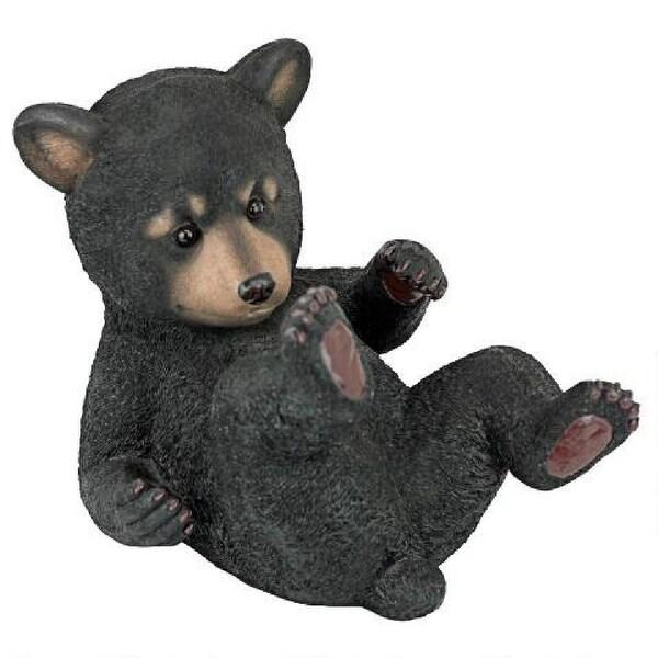 Laying Down Black Baby Bear Playful Cub Statue - N/A