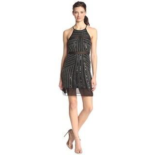 Parker Taha Beaded Sheer Hem Halter Cocktail Dress Black - M