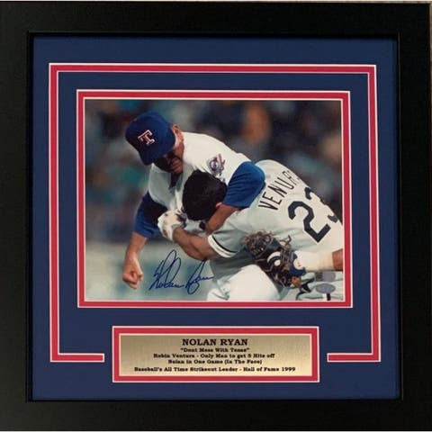 Nolan Ryan Autographed Texas Rangers Signed Framed 8x10 Photo Fight Punching Robin Ventura AI Verif