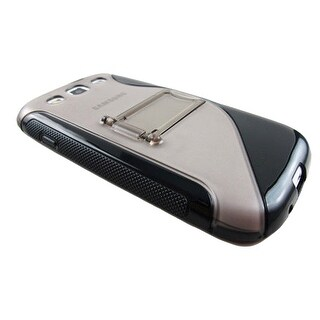 Hard Gel Skin TPU Case Cover with Kickstand for Samsung Galaxy S3 (Black/Smoke)