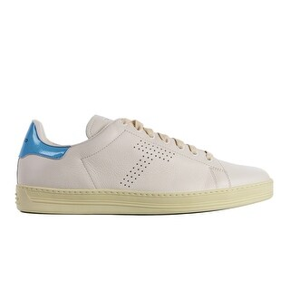 Tom Ford Mens White Blue Leather Warwick Low Top Sneakers