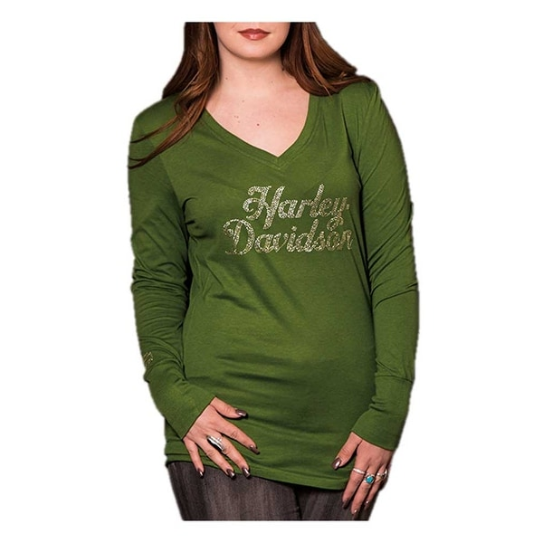 181f18cd0dee Shop Harley-Davidson Women's Pristine Embellished Long Sleeve V-Neck Shirt,  Green - Free Shipping On Orders Over $45 - Overstock - 18146310