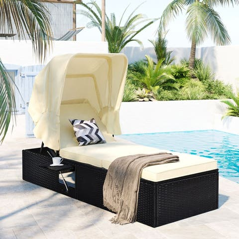 """76.8"""" Reclining Single Chaise Lounge with Cushion,Canopy and Cup Table"""