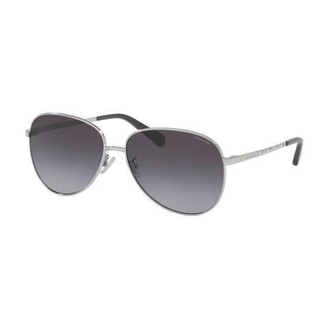 Coach HC7094 90018G 60 Shiny Silver Woman Irregular Sunglasses