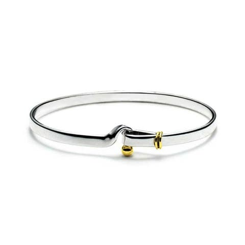 Two Tone Gold Plated Hook And Eye Catch Bangle Bracelet For Women For Girlfriend 925 Sterling Silver