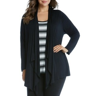 Karen Kane Womens Plus Cardigan Top 2-in-1 Asymmetric