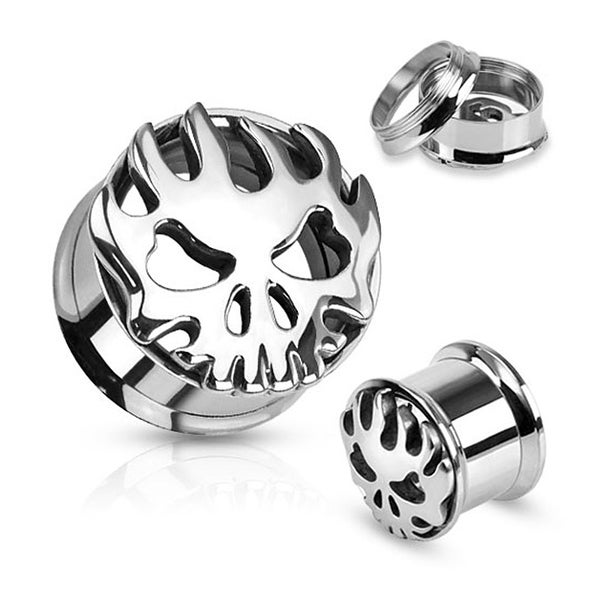 Carved Flaming Skull 316L Surgical Steel Screw Fit Tunnel (Sold Individually)