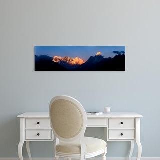 Easy Art Prints Panoramic Images's 'Mountain range at dusk, Ama Dablam, Khumbu, Himalayas, Nepal' Premium Canvas Art