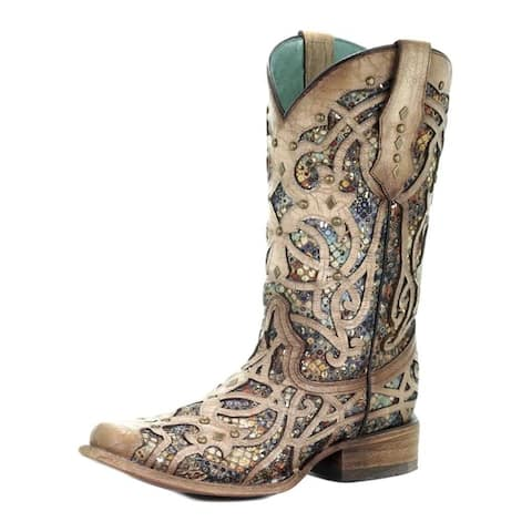 Corral Western Boots Womens Square Toe Inlay Design Studded