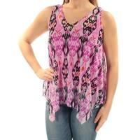 Womens Purple Black Geometric Sleeveless V Neck Handkerchief Top  Size  M