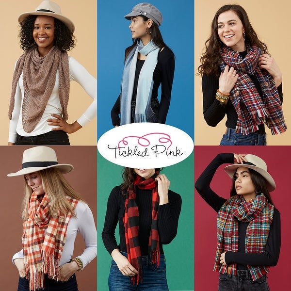 Tickled Pink White Fall Cowboy Scarf. Opens flyout.