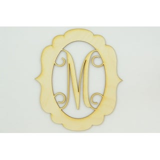"1 Pc, Large 15.5"" X 17.5"" X 1/4 Inch Thick Framed Monogram w/Vine Font Letter M For Party & Home Decor"