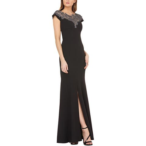 JS Collections Womens Evening Dress Metallic Floral Lace - Black/Silver