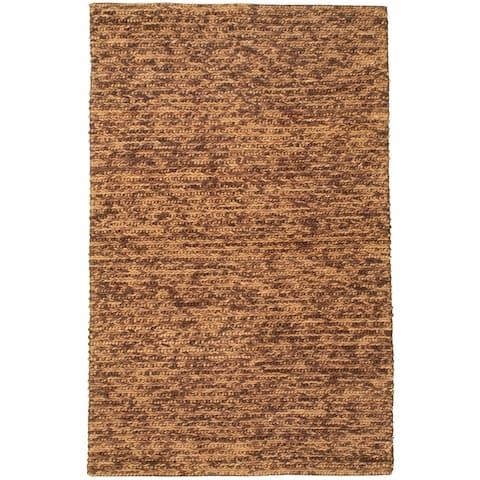 ECARPETGALLERY Braid weave Sienna Brown Wool Rug - 5'0 x 8'1
