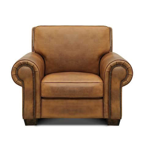 Valencia 100% Top Grain Hand Antiqued Leather Traditional Armchair