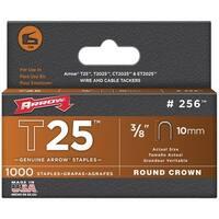 """Arrow Fastener 256 T25 Round Crown Staples, 3/8""""/10Mm; 1,000 Pk"""