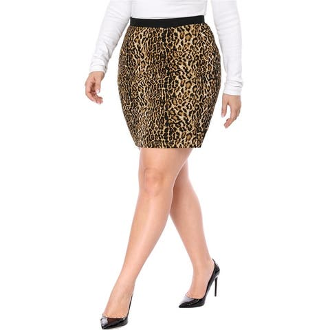 Unique Bargains Women Plus Size Leopard Prints Elastic Waist Pencil Skirt