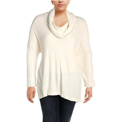 Lucky Brand Womens Plus Tunic Sweater Cowl-Neck Textured