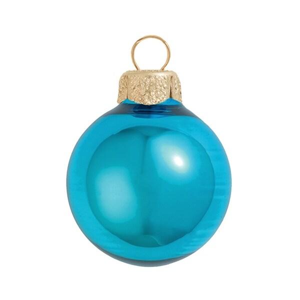 "6ct Shiny Teal Green Glass Ball Christmas Ornaments 4"" (100mm)"