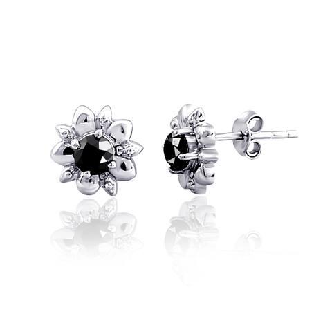 Real Sterling Silver Black Diamond Stud Earrings by Diacrown