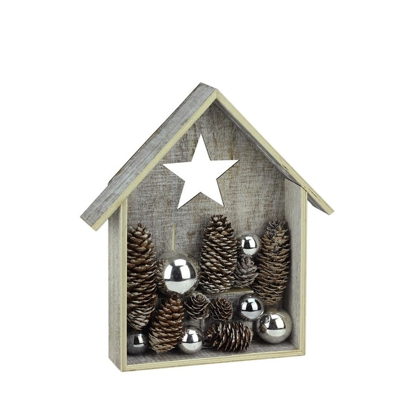 """11"""" Winter Light LED Lighted Rustic Whitewashed House with Pine Cones & Ornaments Christmas Decoration"""