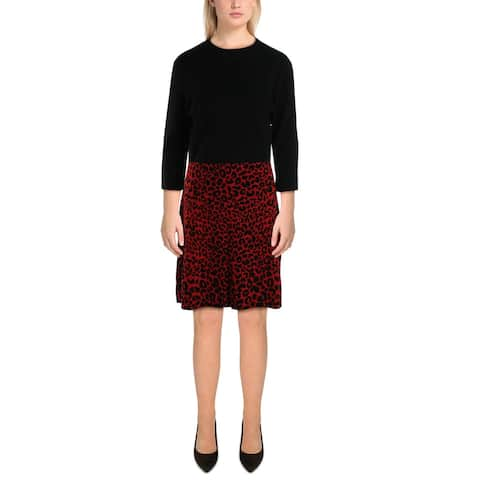 Nanette Nanette Lepore Womens Wear to Work Dress Printed Office - Black/Red