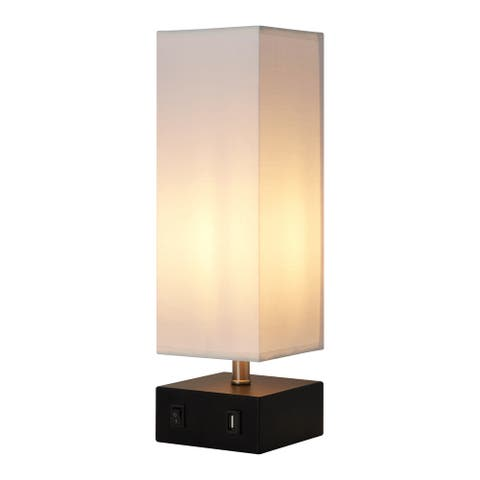 Versanora - Colette Bedside Table Lamp with USB Port and White Shade