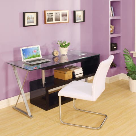 Modern Glass and Wood Swivel Writing Desk