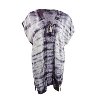 Raviya Women's Plus Size Tie-Dyed Lace-Up Cover-Up Tunic - Plum