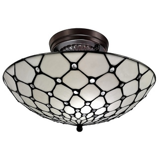 "Link to Tiffany Style Ceiling Fixture Lamp Jeweled 17"" Wide Stained Glass White Bedroom Hallway Gift AM030CL17B Amora Lighting Similar Items in Sconces"