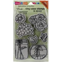 "Stampendous Cling Stamps & Stencil 5""X7""-Build A Bouquet Set"
