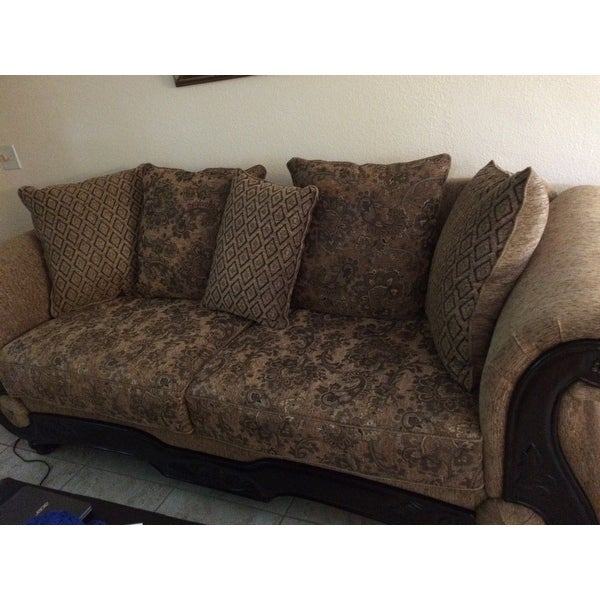 Shop Ersa Traditional Wood Trim Chenille Fabric Gold/Bronze Sofa by ...