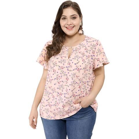 Unique Bargains Women's Plus Size Keyhole Floral Printed Chiffon Flared Sleeve Blouse - Pink