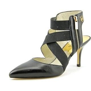 Michael Michael Kors Meadow Mid Women Pointed Toe Leather Black Heels