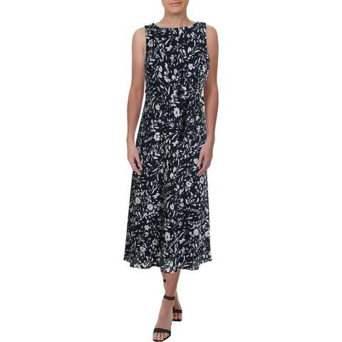 Lauren Ralph Lauren Womens Petites Tomara Party Dress Floral Print Front Tie - Navy/Cream