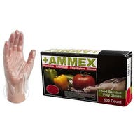 Clear Poly Disposable Gloves (Box of 500) by AMMEX