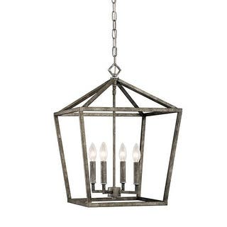"""Millennium Lighting 3244 4 Light 16"""" Wide Pendant with Cage Frame and Candle Style Lights