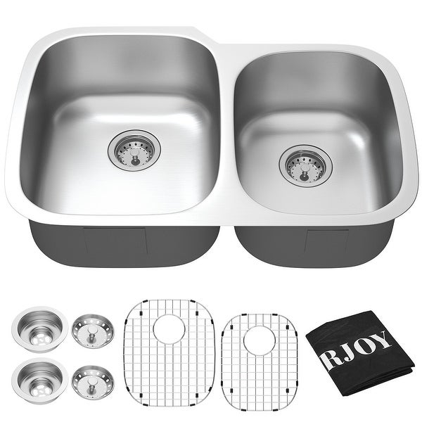Costway 32'' Undermount 60/40 Double Bowl Kitchen Sink Stainless Steel w/ Accessories - as pic