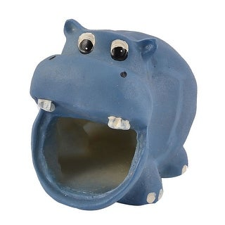Pet Hamster Gerbil Hippo Shaped House Ornament Dark Blue 4cm Entrance Width