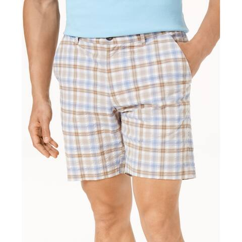 6ae60bff Tommy Bahama Men Beige Blue Size 42 Chaser Check Seersucker Print Shorts