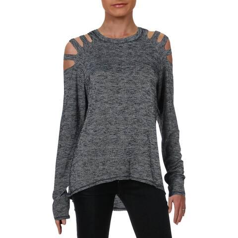 Elan Womens Knit Top Slash Cold Shoulder - M