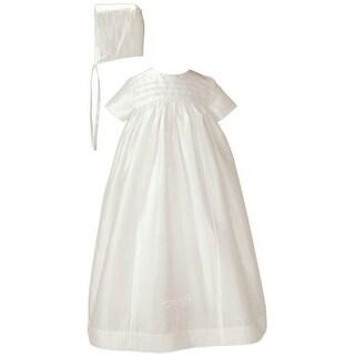 Baby Girls Off White Silk Dupioni Bonnet Slip Christening Gown