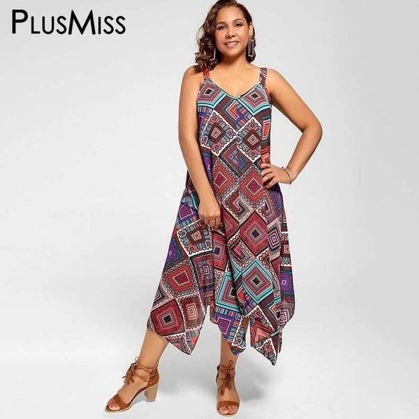 fab276fe6d1 Shop Plus Size 5Xl Spaghetti Strap Geometric Print Ethnic Summer Women Dress  Beach Boho Chiffon Maxi Long Dress 2017 Big Size - Free Shipping On Orders  Over ...