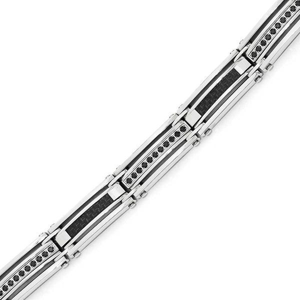 Chisel Stainless Steel Polished Black Carbon Fiber with Black CZ Bracelet