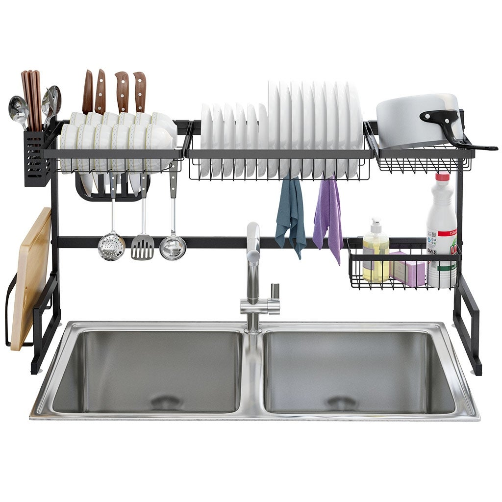 Langria Dish Drying Rack Over Sink Stainless Steel Drainer Shelf 2 Tier Utensils Holder Display Stand 37 4 Inches Width Overstock 29001935