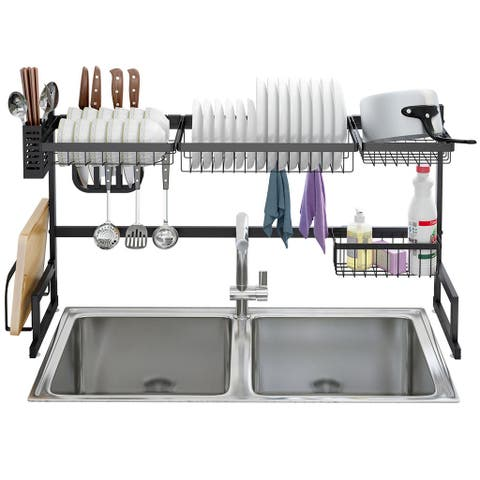 LANGRIA Dish Drying Rack Over Sink Stainless Steel Drainer Shelf, 2-Tier Utensils Holder Display Stand,37.4 Inches Width